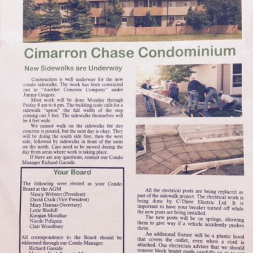 Cimarron Chase Condo concrete sidewalk replacement